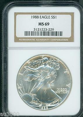 1988 American Silver Eagle S$1 ASE NGC MS69 MS-69 Premium Quality PQ+ !!!