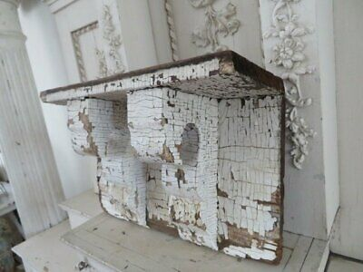 FABULOUS Old Wood ARCHITECTURAL SHELF with 2 CORBELS HEADER Chippy WHITE PATINA