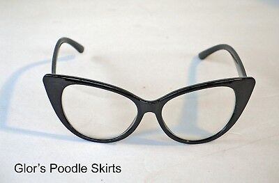 53adcc4f6068 Cateye Eyeglasses Black Clear Lens Cat Eye Fifties Retro 50s Style No  Rhinestone