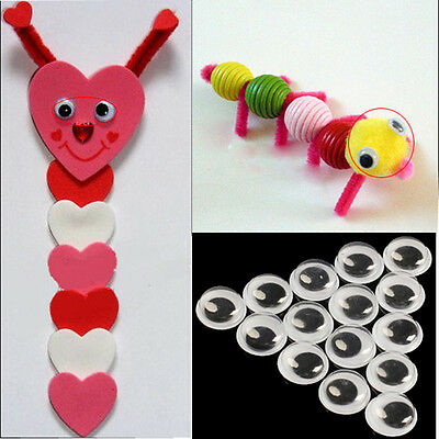 100x 6-12mm Plastic Wiggle Googly Eyes Self-Adhesive for DIY Dolls Kids Toys Hot