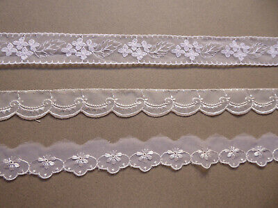 White Swiss Organza Trims. 1950's. Price per Metre