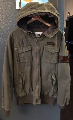 c99b94146 ZOO YORK ARMY Green Bomber Hooded Jacket Men's Sz Large