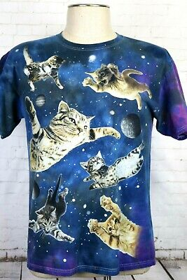 1f89d3b3 DOM Men's Size Large Blue Space Cats Tie Dye T-Shirt Outer Space Cats Galaxy