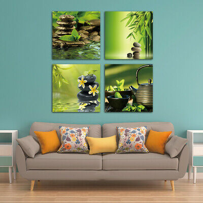 Zen Stone Bamboo Spa Tea Canvas Painting Wall Art Picture HD Print Home Decor