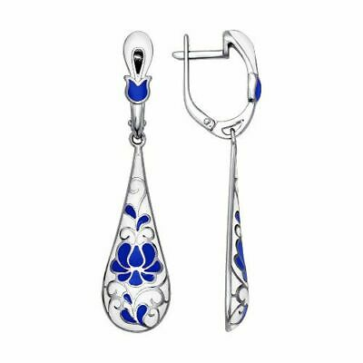 Chinese Style Blue And White Porcelain 925 Silver Hoop Dangle Drop Earrings Gift