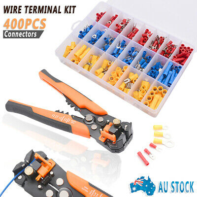 400Pcs Assorted Insulated Electrical Wire Terminal Crimp Spade Connector Kit Box