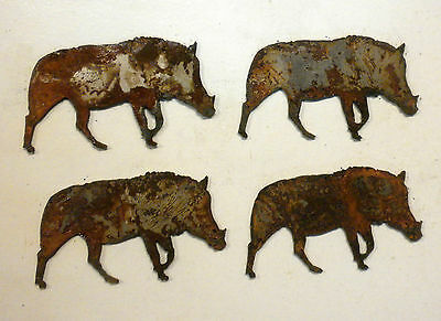 "Lot of 4 Wild Boar Pig Shapes 3"" Rusty Metal Vintage Ornament Craft Sign"