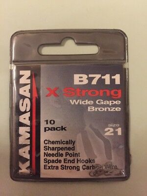 Size 21 Kamasan B711 X Strong Wide Gape Bronze Barbed Hooks (new Pack Of 10)