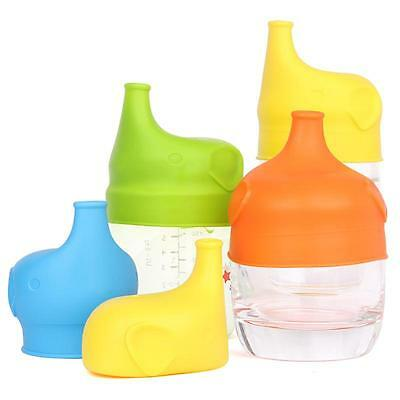 Reusable Baby Sippy Cup Lids Elephant Spill Proof Food-Grade Silicone CP