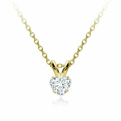 1Ct Diamond Solitaire Heart Shape Pendant Necklace W/Chain 14K Yellow Gold Over