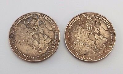 Pair of VINTAGE 1939 Canada Commemorative Copper Medal Token - FIRST ROYAL VISIT
