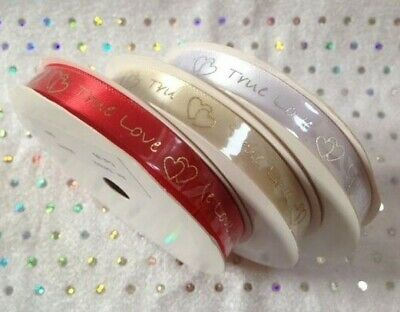 TRUE LOVE Satin Ribbon embossed with words & hearts 10mm wedding - 5m full reel