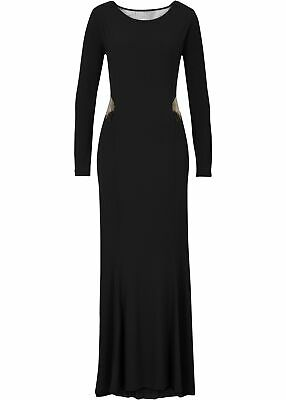 Lack-Kleid schwarz langes Lack Abendkleid Black Level party long dress S 36 38