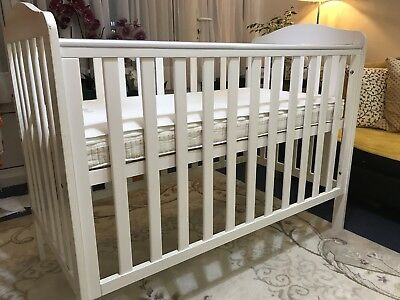 Mothercare Baby Cot - White with mattress plus cover and teething rails