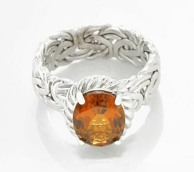 Cognac Quartz Gemstone Byzantine Ring Real Solid Sterling Silver Size 5 ~ 11 QVC
