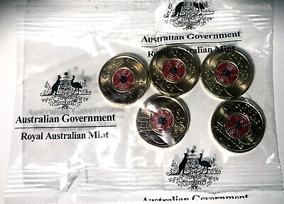2018 Remembrance Day Armistice Centenary Red $2 Coin Sachet / Bag (5 Coins)