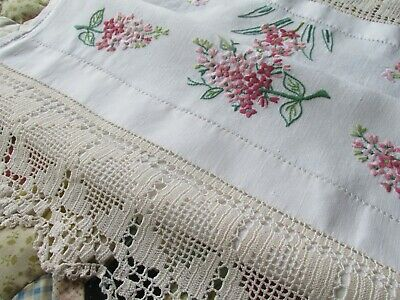 Vintage Hand Embroidered Linen Display Towel Panel-Hand Crochet Lace edgings