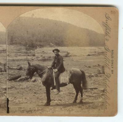 1889 Stereoview Johnstown Flood, John Baker & Pony South Fork Hero, William Rau,