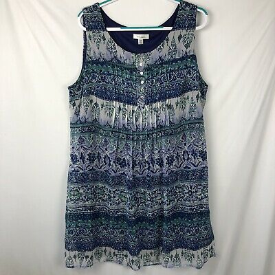 67b7c46f0a3 DRESSBARN Women's Dress/Tunic top Size 18 Sleeveless Blue Green Lined