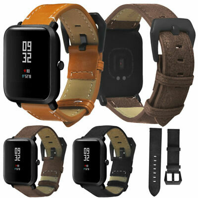 20mm Leather Watch Strap Xiaomi Huami Amazfit Bip Wristwatch Band Replacement