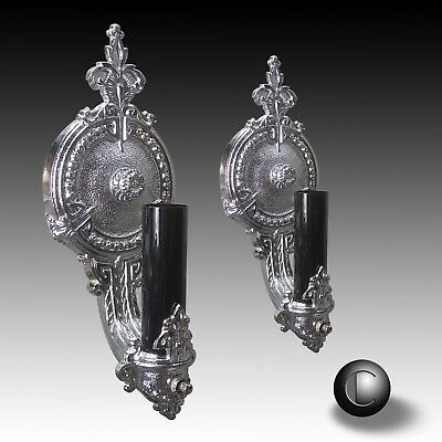 PAIR 1930's Art Deco Chrome Sconce Wall Light Fixtures RESTORED