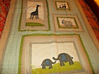 POTTERY BARN KIDS BROOKS CRIB QUILT, TODDLER QUILT, elephants,pandas,giraffes
