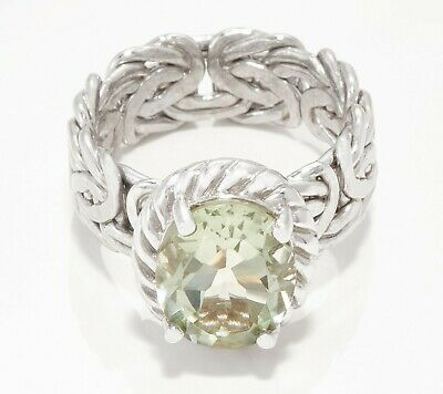 Prasiolite Gemstone Byzantine Ring Real Solid Sterling Silver Size 5 ~ 11 QVC