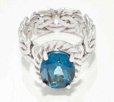 Blue Topaz Gemstone Byzantine Ring Real Solid Sterling Silver Size 5 ~ 11 QVC