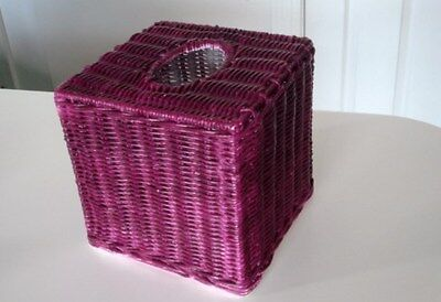 Tissue Box Cover Square MAROON Wicker Bathroom Accessories Holder Basket LARGE