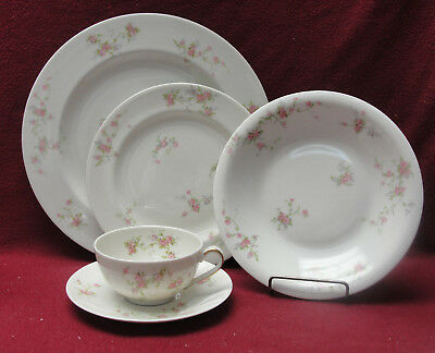 THEO HAVILAND China, NY - PINK SPRAY Pattern - 5-piece PLACE SETTING w/Soup Bowl