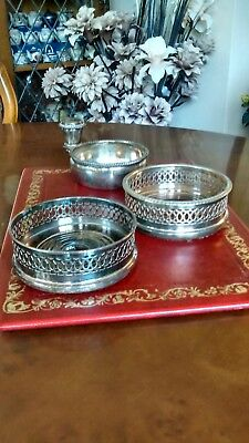 Vintage Silver Plate Champagne / Wine Coasters Made in England