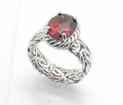 Red Garnet Gemstone Byzantine Ring Real Solid Sterling Silver Size 7 ~ 11 QVC