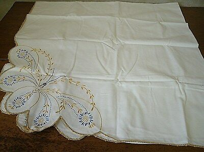 "Vintage Embroidered Butterfly Tablecloth Blue/Yellow  58"" x 62"" (J14)"
