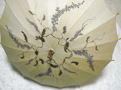 Vintage 20s 30s Umbrella Parasol WISTERIA Hand Painted VGC Linen Lucite Ring