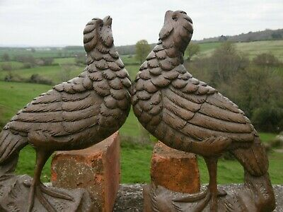 SUPERB PAIR 19thc BLACK FOREST OAK CARVED GAME BIRDS C.1870