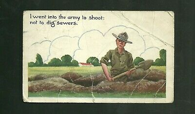 World War 2 U.S. Army Censored Post Card I Went Into The Army to Shoot Not Dig