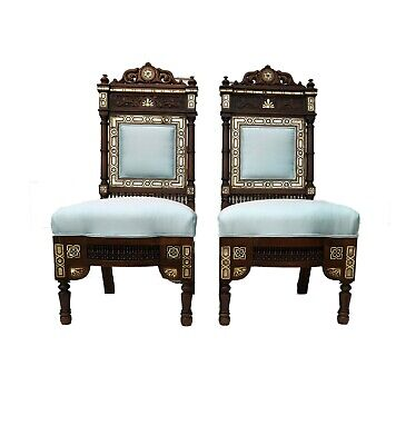 """Museum Quality 19th C Moorish/Middle Eastern Pair of chairs 41"""" H"""