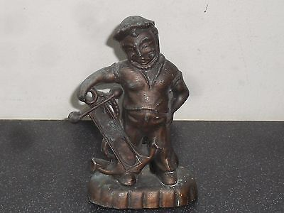 Old Metal Sailor Statue Figure with Anchor Nautical Sailing Gnome