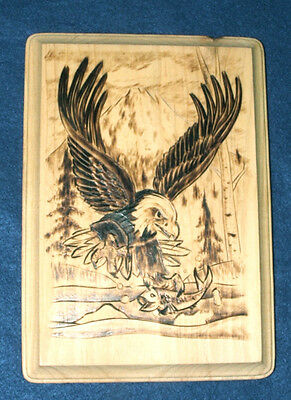 """Authentic Native American Woodburning Art Fishing Eagle 6.5x9"""" Wall Plaque"""