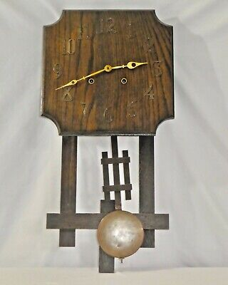 Antique OAK Arts + Crafts WALL CLOCK by National Clock & Mfg Co Chicago. Works.