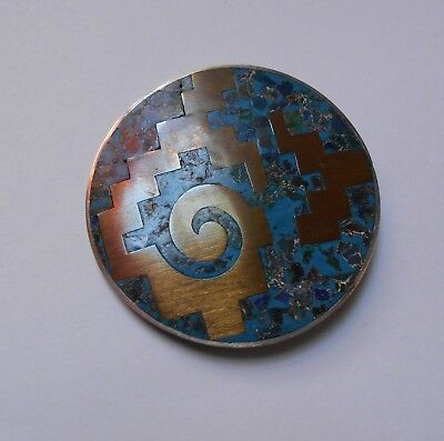 rare MID CENTURY MODERNIST MIXED METALS BROOCH. signed. TAXCO 925