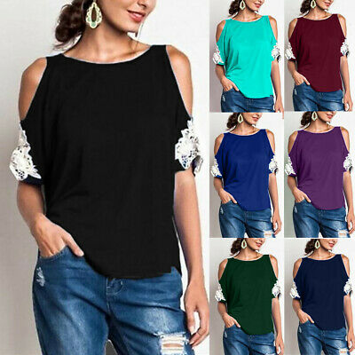 Plus Size Womens Blouse Cold Shoulder Ladies Summer T-Shirt Loose Casual Tops