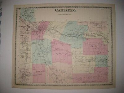 Antique 1873 Canisteo Adrian Steuben County New York Handcolored Map Rare Fine