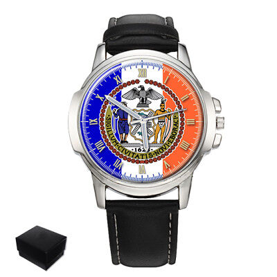 New York City Flag Seal Usa Gents Mens Wrist Watch  Gift Engraving