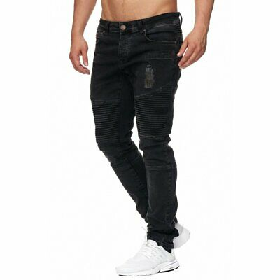 e4fa443963bd62 Tazzio Fashion Herren Denim Biker-Jeans im Destroyed Look Slim Fit Schwarz