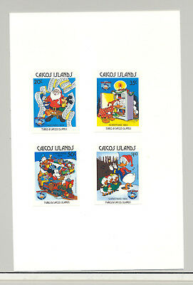 Caicos #54-56, 58 Christmas, Disney 4v Imperf Proofs on Cards
