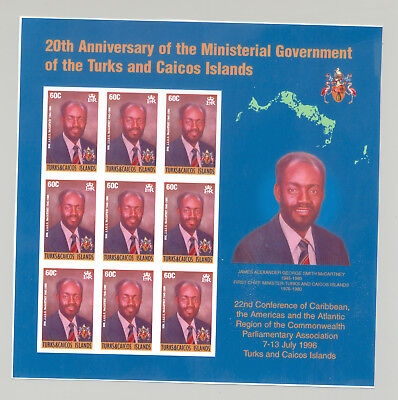 Turks & Caicos #1209 Ministerial Government 1v M/S of 9 Imperf Proof