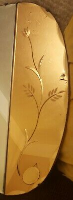 Beautiful 1930s rare etched peach Art Deco bevelled edge frameless Mirror