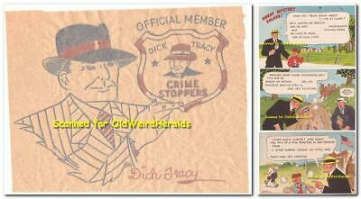 DICK TRACY PREMIUMS LOT 4pc 1930/40s IRON ON Postcards CHESTER GOULD COMIC STRIP