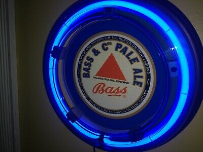 ***Bass Ale Beer Bar Advertising Man Cave Blue Neon Wall Sign